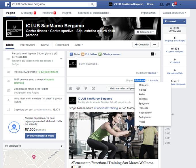 Come Pubblicare un post multi lingua su Facebook