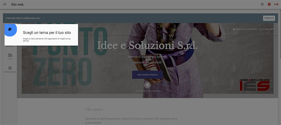 Setup funzione sito web in google my business