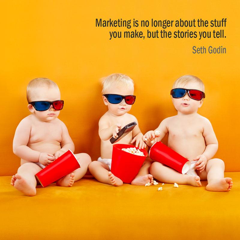 Citazione di Seth Godin sul Marketing come storia
