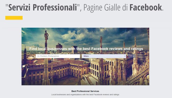"""Altra novità social in arrivo """"Servizi Professionali"""", le Pagine Gialle di Facebook"""