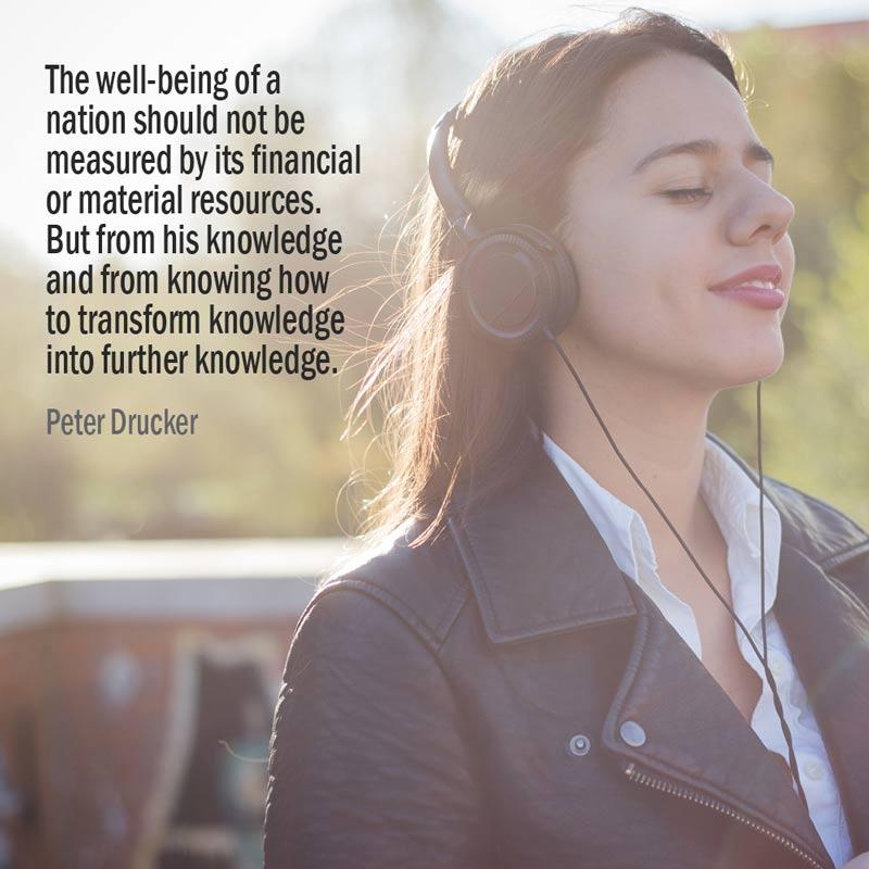 Citazione di Peter Drucker sul benessere di una nazione e le sue risorse