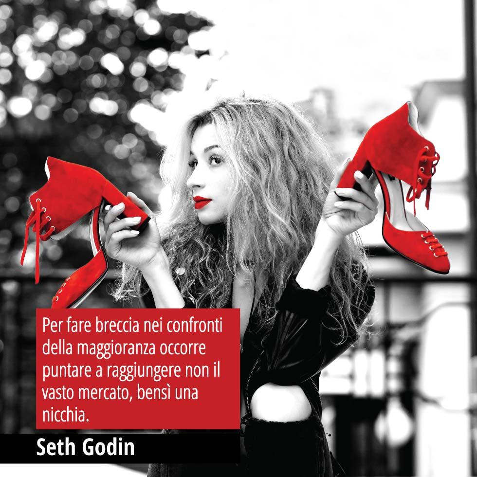 Citazione Di Seth Godin. Per Fare Breccia Nei Confronti Della Maggioranza Occorre Puntare A Raggiungere Non Il Vasto Mercato, Bensì Una Nicchia.