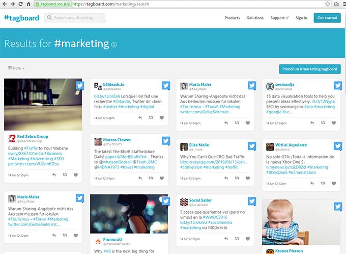 Tagboard: è un potente tool di ricerca di hashtag su piattaforme diverse