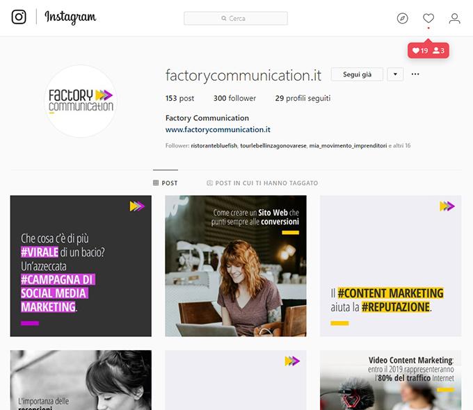 pagina instagram di Factory Communication