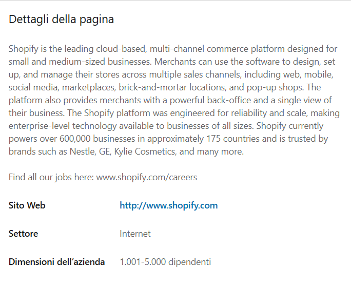 Pagina aziendale linkedin shopify