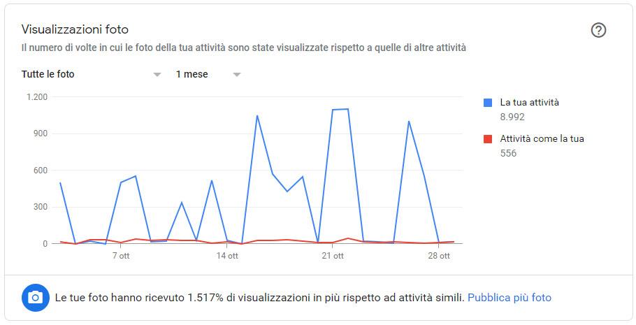 Fai crescere il tuo Business con Google My Business Grafico Visualizzazioni foto