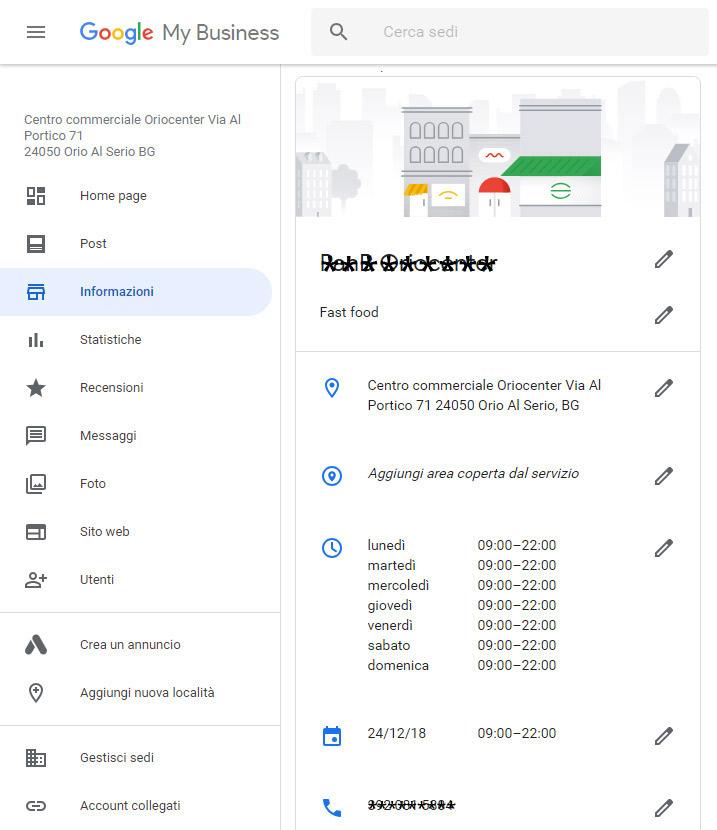 Google My Business per i ristoranti sezione gestione informazioni e orari
