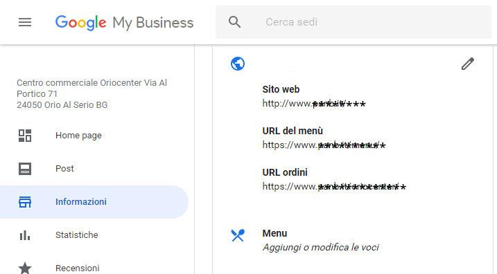 Google My Business per i ristoranti sezione gestione link e menu