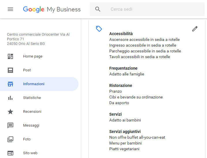 Google My Business per i ristoranti sezione gestione servizi