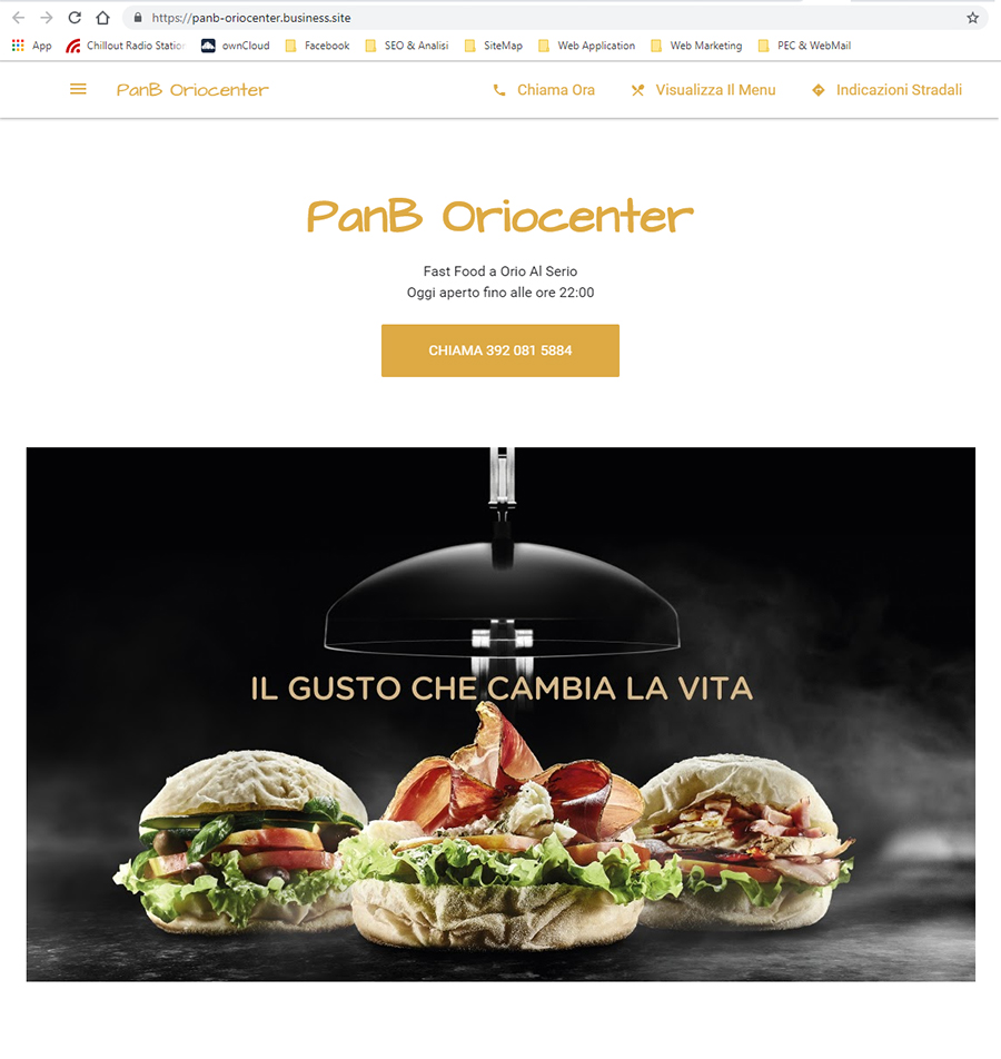 Scheda Google My Business di Pan B Oriocenter homepage