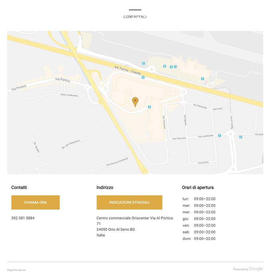 Scheda Google My Business di Pan B Oriocenter sezione contatti