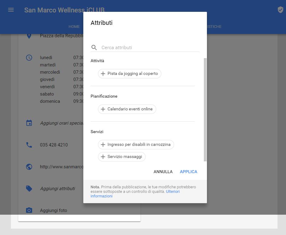 Setup pagina Google plus per inserire informazioni accesso ai disabili