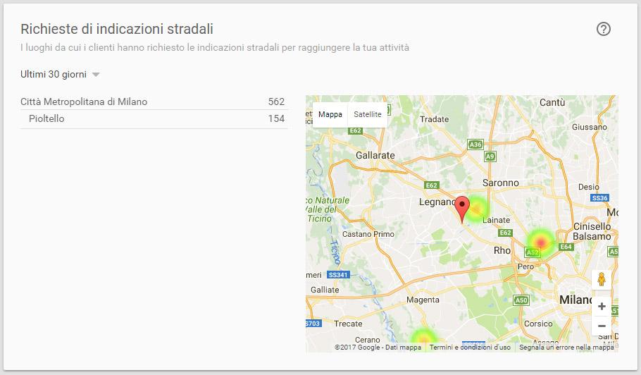 Statistiche pagina google plus che visualizza la provenienza delle richieste indicazioni stradali