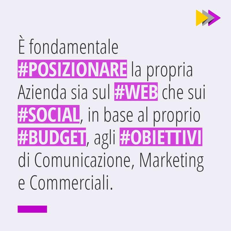 È fondamentale #POSIZIONARE la propria Azienda sia sul #WEB che sui #SOCIAL, in base al proprio #BUDGET, agli #OBIETTIVI di Comunicazione, Marketing e Commerciali.
