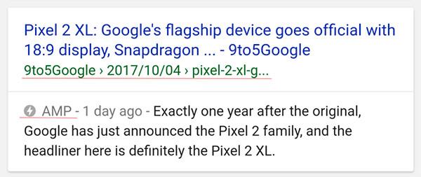 Esempio di risultato google search amp
