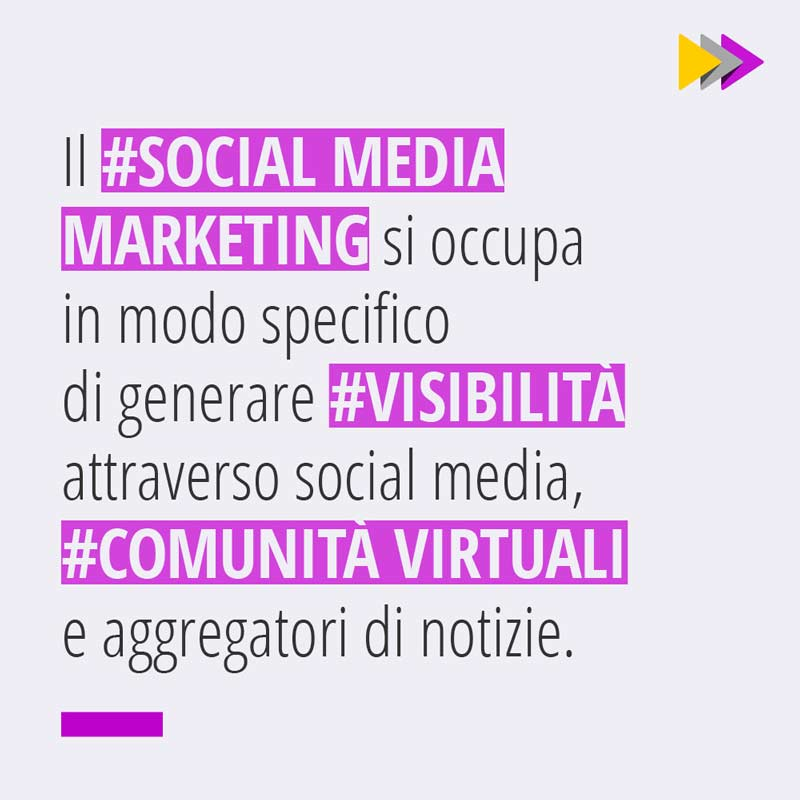 Il #SOCIAL MEDIA MARKETING si occupa in modo specifico di generare #VISIBILITÀ attraverso Social Media #COMUNITÀ VIRTUALI e aggregatori di notizie