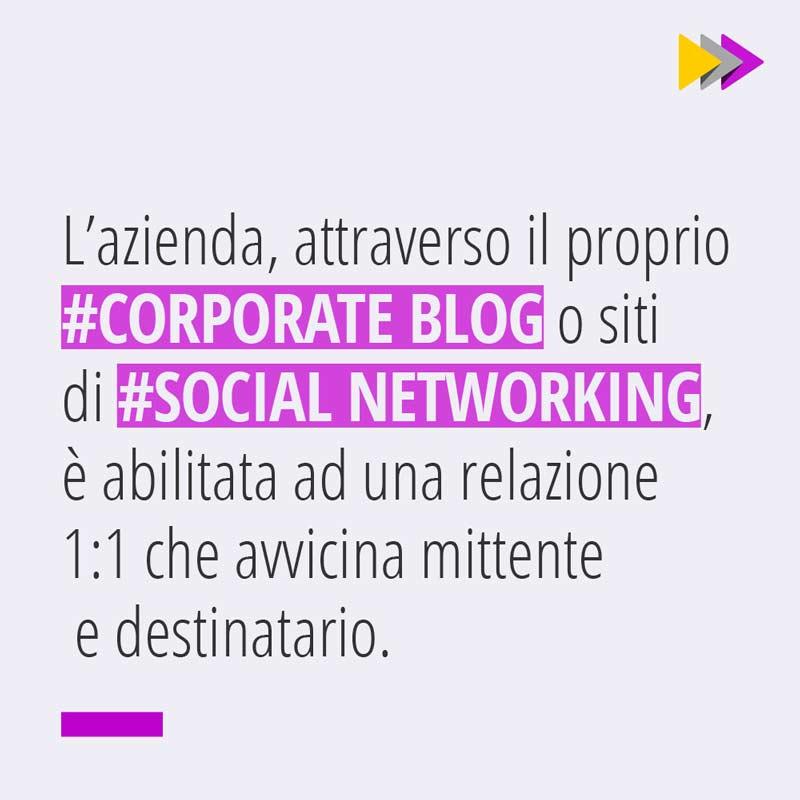 L'Azienda attraverso il proprio #CORPORATE BLOG o siti di #SOCIAL NETWORKING è abilitata ad una relazione 1:1 che avvicina mittente e destinatario