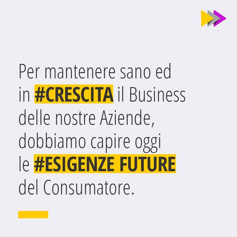 Per mantenere sano ed in #CRESCITA il Business delle nostre Aziende, dobbiamo capire oggi le #ESIGENZE FUTURE del Consumatore.