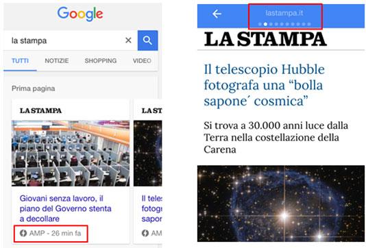 Printscreen del quotidiano La Stampa un esempio di notizia AMP