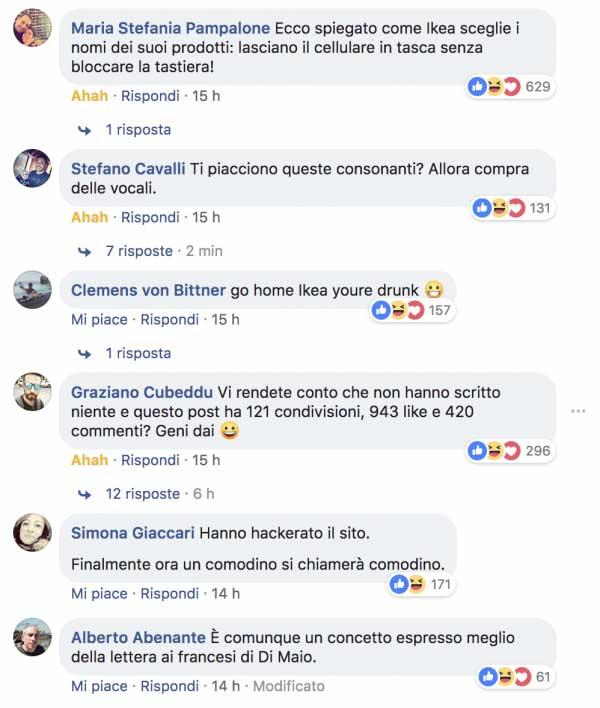 I commenti al post pubblicato sulla pagina Facebook dell'IKEA