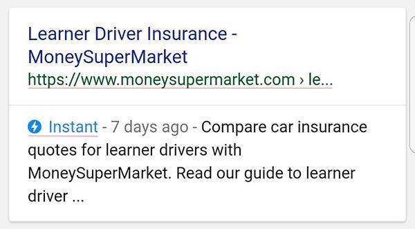esempio di risultato google amp instant label