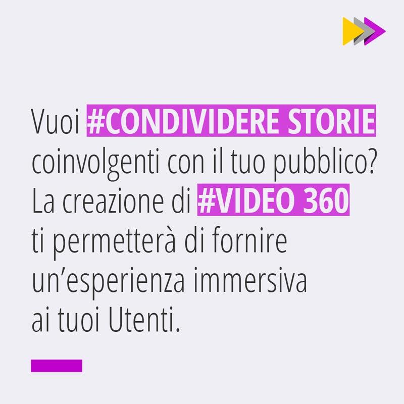 Vuoi #CONDIVIDERE STORIE coinvolgenti con il tuo pubblico? La creazione di #VIDEO 360 ti permetterà di fornire un'esperienza immersiva ai tuoi Utenti.