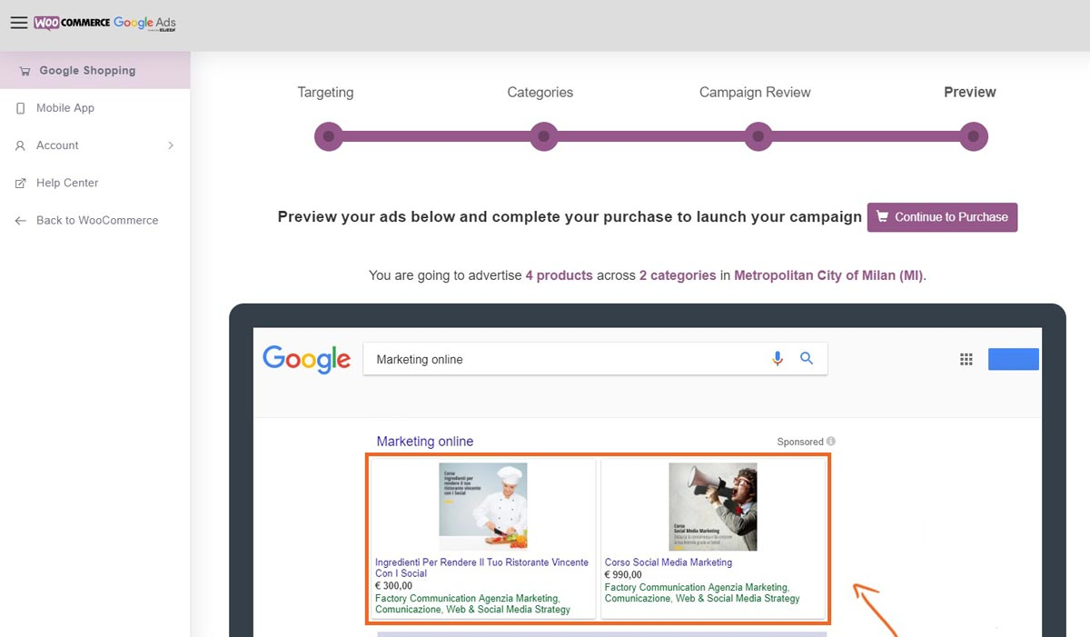 Google Ads e WooCommerce preview campagna