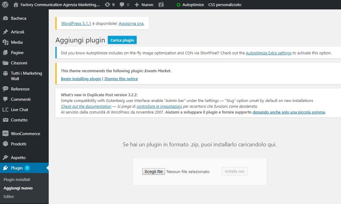 Installare una plugin in wordpress