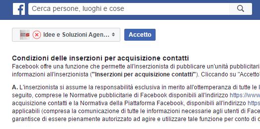 Condizioni uso Facebook per creazione inserzioni per acquisizione contatti