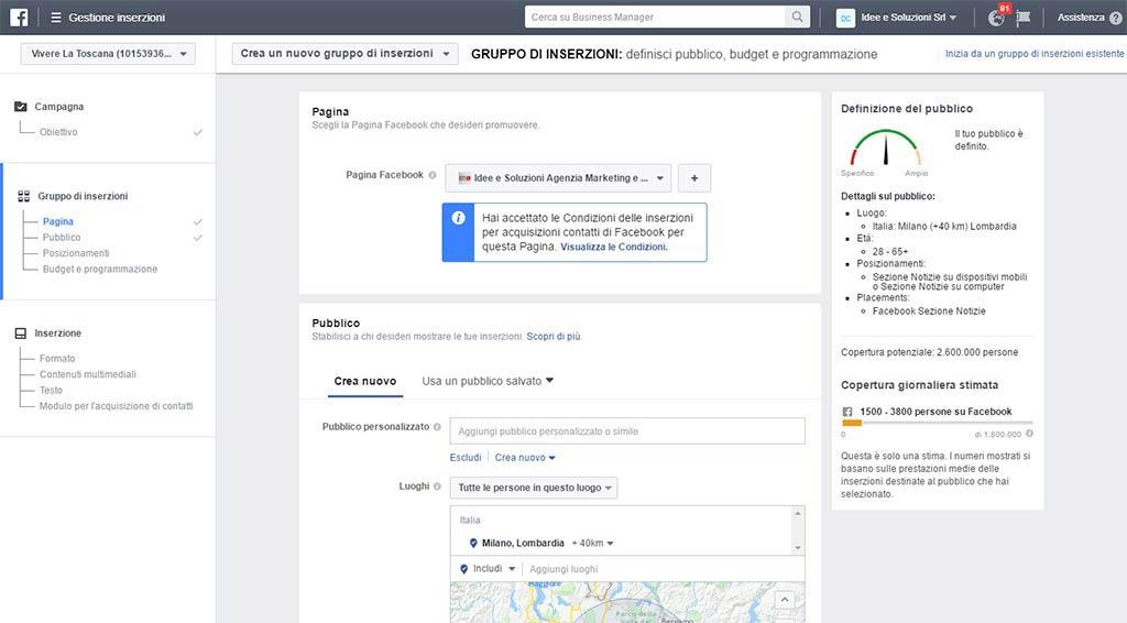 Modulo Facebook Gestione inserzioni pubblicitarie setup campagna
