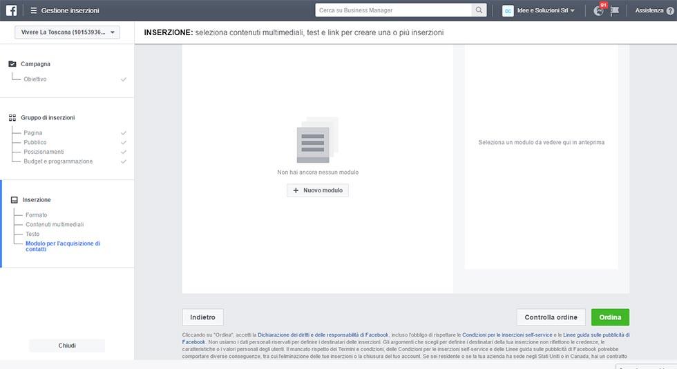 Modulo Facebook per la Gestione delle inserzioni pubblicitarie creazione modulo contatto