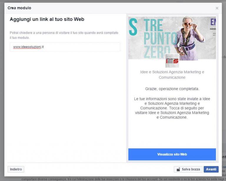 Modulo Facebook per la Gestione delle inserzioni pubblicitarie inserimento link sito web