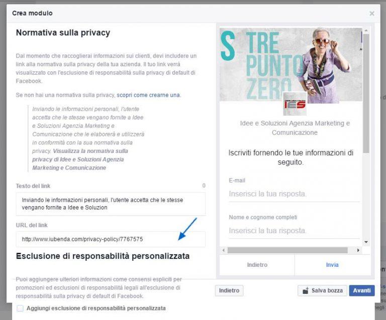 Modulo Facebook per la Gestione delle inserzioni pubblicitarie inserimento privacy nel modulo