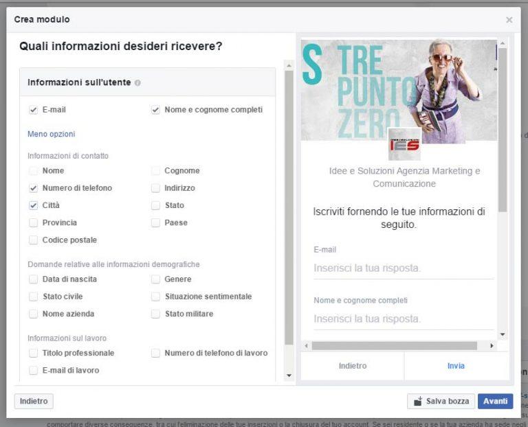 Modulo Facebook per la Gestione delle inserzioni pubblicitarie scheda contesto campi disponibili scheda contatto