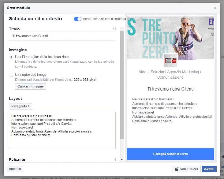 Modulo Facebook per la Gestione delle inserzioni pubblicitarie scheda contesto