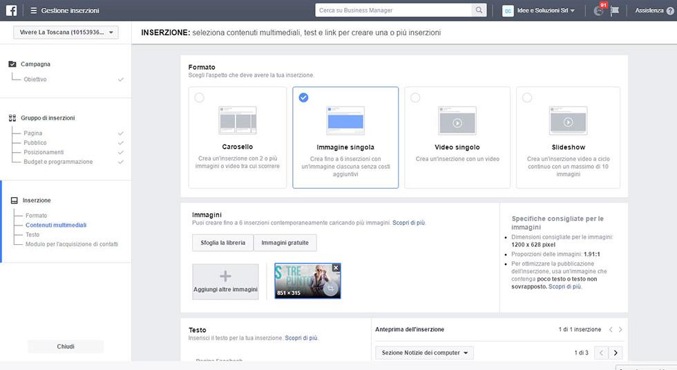 Modulo Facebook per la Gestione delle inserzioni pubblicitarie setup campagna definizione inserzione