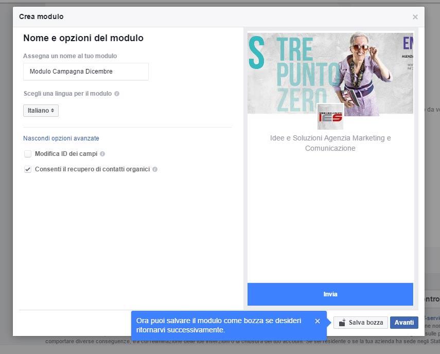 Modulo Facebook per la Gestione delle inserzioni pubblicitarie setup nome modulo