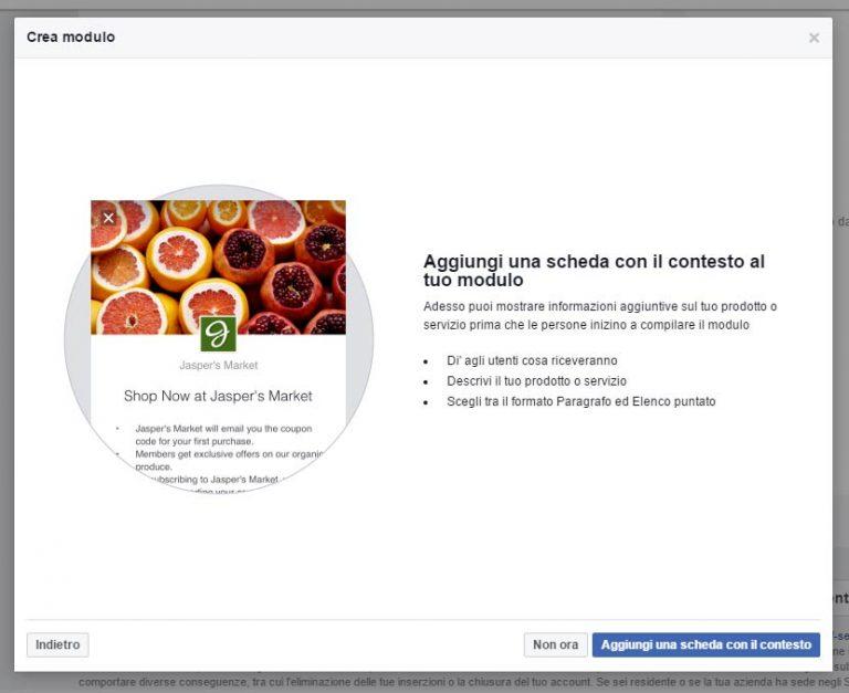 Modulo Facebook per la Gestione delle inserzioni pubblicitarie setup scheda contesto