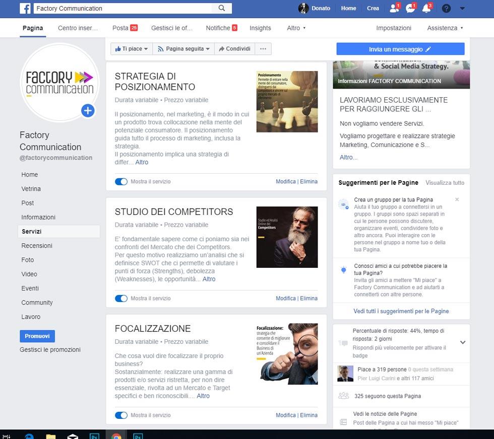 Pagina servizi di Facebook elenco servizi