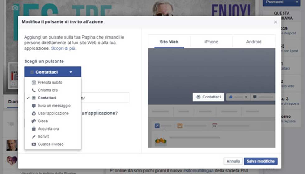 Pulsante Invito Alla Azione Di Facebook