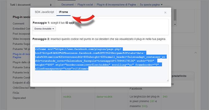 codice html di un evento Facebook da inserire in un sito internet