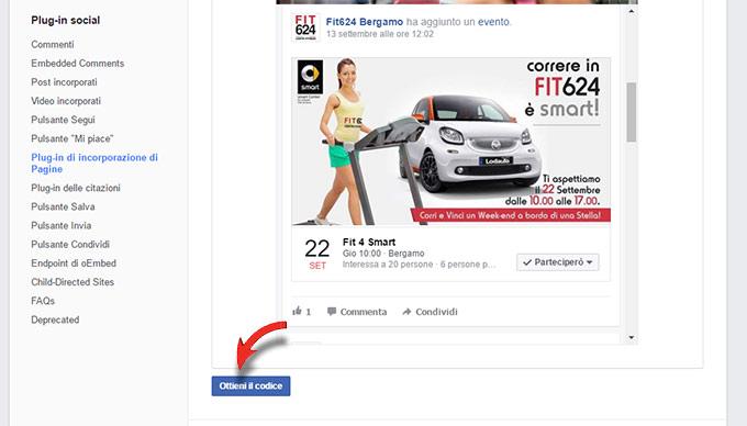Per inserire un evento Facebook in un sito è sufficiente utilizzare il suo codice html