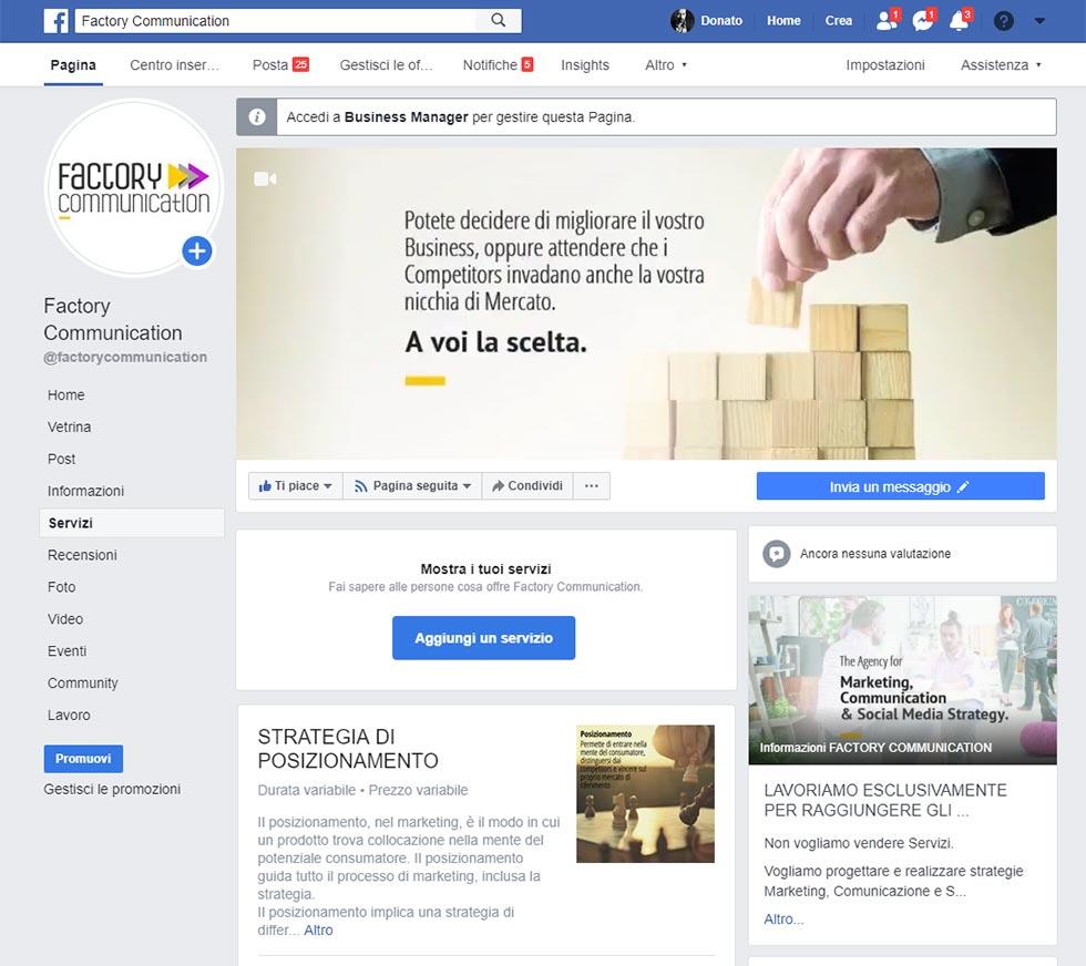 servizi sulla Pagina Facebook