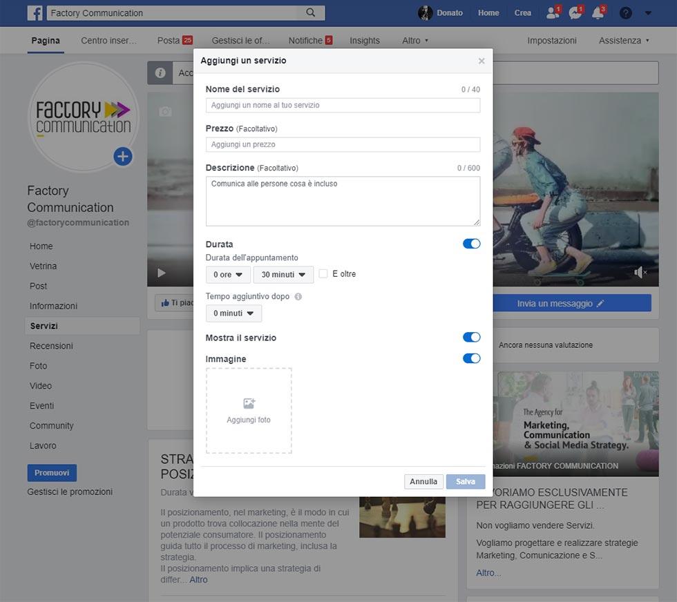 sezione servizi sulla Pagina Facebook