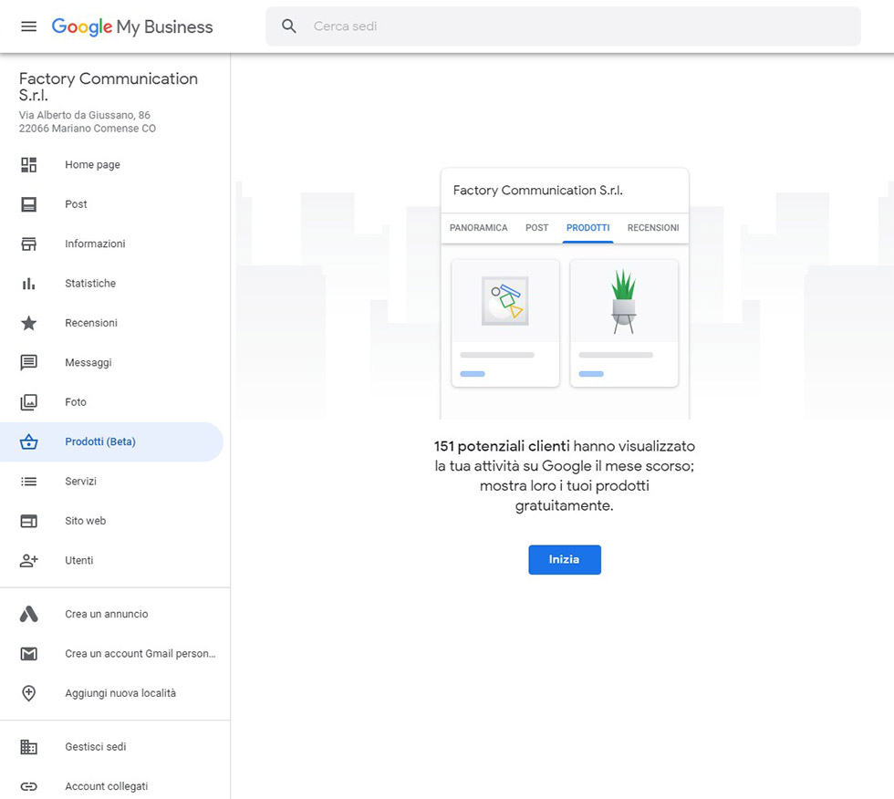 Schermata di Google My Business