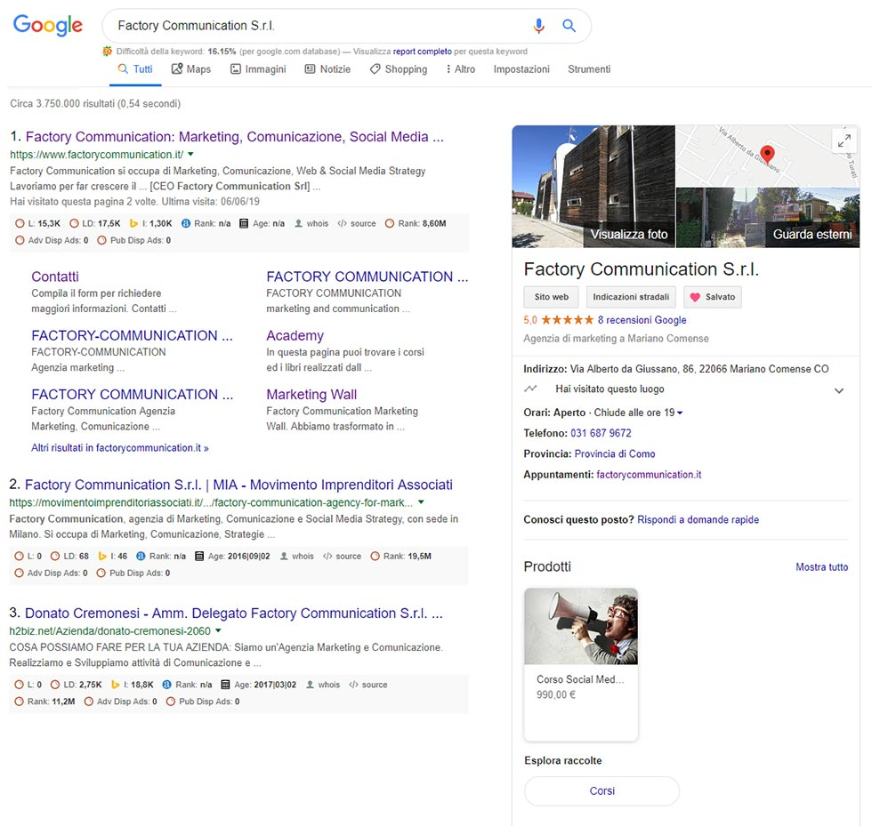 Scheda Google My Business di Factory Communication