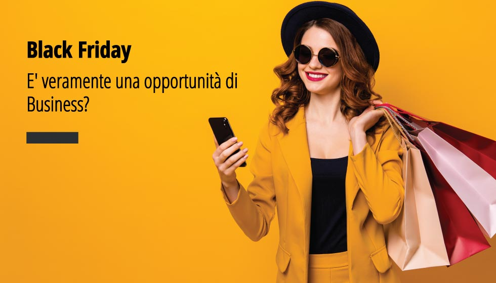 "In questa fotografia una bella ragazzi che ha appena fatto shopping. In over la scritta ""BLACK Friday. E' veramente un'opportunità di Business?"""