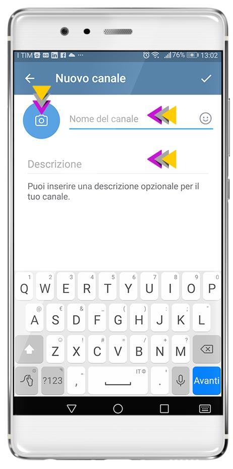 Personalizzazione Canale Broadcast in Telegram step 2