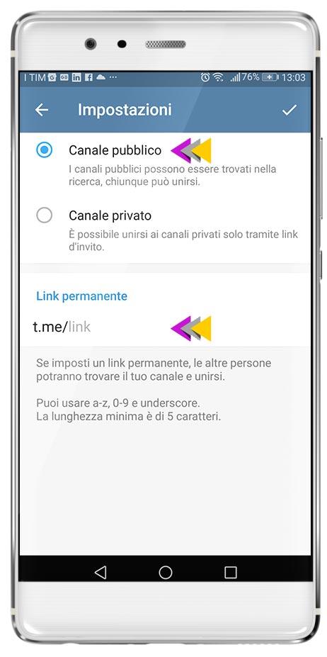 Canale Broadcast in Telegram step 3: scelta se pubblico o privato e creazione del link di condivisione