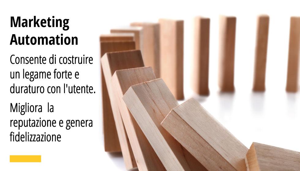 Marketing Automation Consente di costruire un legame forte e duraturo con l'utente. Migliora la reputazione e genera fidelizzazione